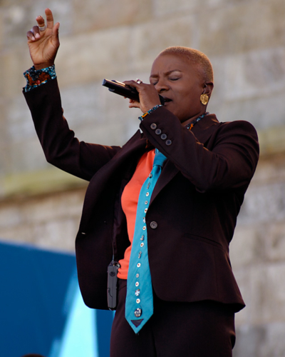 Anagelique Kidjo performing at the Newport Jazz Festival